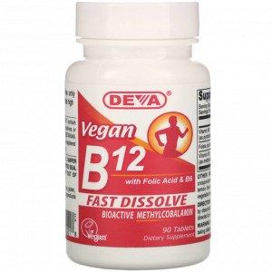 Deva, Vegan B12 with Folic Acid & B6, 90 Tablets