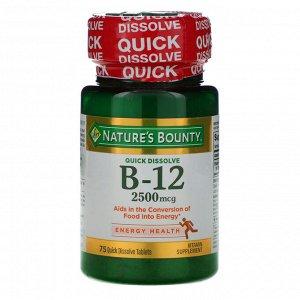 Nature&#x27 - s Bounty, B-12, Natural Cherry Flavor, 2,500 mcg, 75 Quick Dissolve Tablets