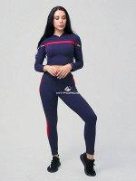 Женский всесезонный костюм для фитнеса темно-синего цвета