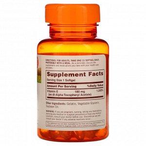 Sundown Naturals, Витамин E, 180 мг (400 МЕ), 100 мягких таблеток