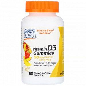 Doctor&#x27 - s Best, Жевательные таблетки с витамином D3, со вкусом тропических фруктов, 50 мкг, 60 шт.