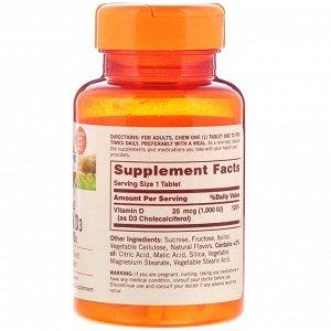 Sundown Naturals, Жевательный витамин D3 со вкусом клубники и банана, 25 мг (1000 МЕ), 120 жевательных таблеток