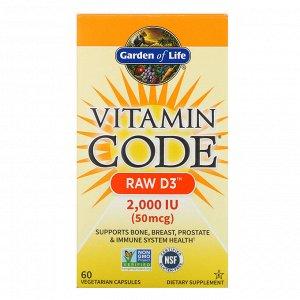 Garden of Life, Vitamin Code, RAW D3, 50 mcg (2,000 IU), 60 Vegetarian Capsules
