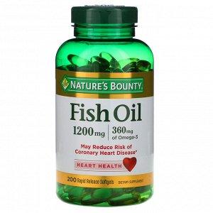 Nature's Bounty, Рыбий жир, 1200 мг, 200 мягких таблеток быстрого высвобождения
