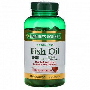 Nature&#x27 - s Bounty, Рыбий жир, 1000 мг, 220 мягких капсул в оболочке