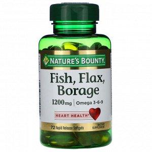 Nature&#x27 - s Bounty, Рыба, лён, бурачник, 1200 мг, 72 быстро высвобождающиеся мягкие капсулы