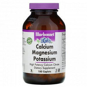 Bluebonnet Nutrition, кальций, магний и калий, 180 капсуловидных таблеток