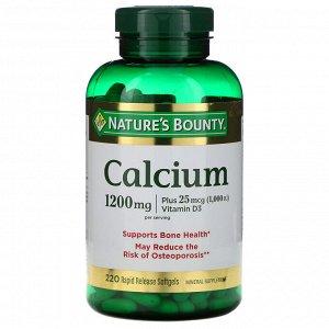 Nature&#x27 - s Bounty, Кальций с витамином D3, 1200 мг, 220 мягких желатиновых капсул с быстрым высвобождением действующего вещества