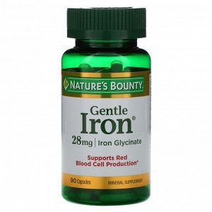 Nature&#x27 - s Bounty, Железо мягкого действия, 28 мг, 90 капсул