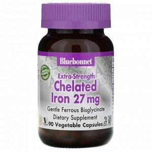 Bluebonnet Nutrition, Хелатное железо усиленного действия, 27 мг, 90 растительных капсул