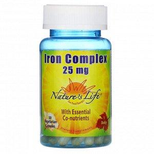 Nature&#x27 - s Life, Комплекс железа, 25 мг, 50 вегетарианских капсул