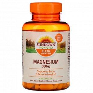 Sundown Naturals, Магний, 500 мг, 180 капсуловидных таблеток в оболочке