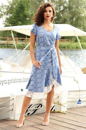 Платье Платье Мода Юрс 2564 темно-голубой  Состав ткани: Вискоза-22,5%; ПЭ-66,7%; ПА-10,8%;  Рост: 164 см.  Романтичное платье приталенного силуэта. Выполнено из хлопковой ткани с набивным рисунком в