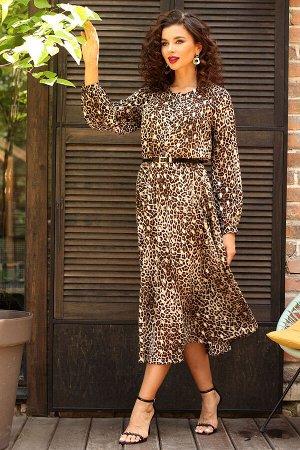 Платье Платье Мода Юрс 2547 леопард  Состав ткани: ПЭ-100%;  Рост: 164 см.  Нежное шифоновое платье в модной цветовой гамме, отрезное по линии талии и юбкой А-силуэта. Вырез горловины окантован. Рука
