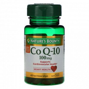 Nature&#x27 - s Bounty, Co Q-10, 100 mg, 45 Rapid Release Softgels
