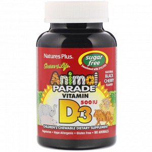 Nature&#x27 - s Plus, Source of Life, Animal Parade, витамин D3, без сахара, с натуральным вкусом черной вишни, 500 МЕ, 90 таблеток в форме животных