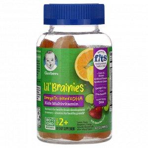 Gerber, Lil Brainies, смесь трех омега жирных кислот и ДГК, мультивитаминная добавка, для детей от 2лет, 60жевательных мармеладок