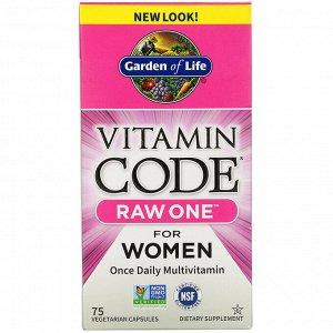 Garden of Life, Vitamin Code, RAW One, мультивитаминная добавка для женщин (для приема 1 раз в день), 75 вегетарианских капсул