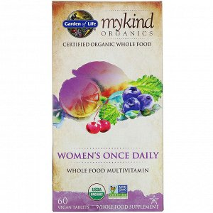 Garden of Life, KIND Organics, Women&#x27 - s Once Daily, 60 веганских таблеток