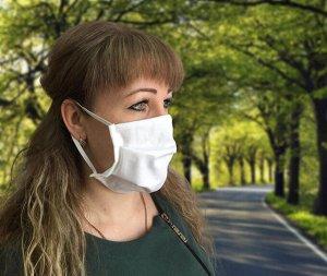 Комплект санитарно-гигиенических защитных масок, Бязь ГОСТ 142 гр./м. (3 шт) (Белая, вид 1)