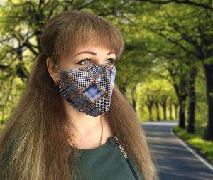Комплект санитарно-гигиенических защитных масок, трикотаж (10 шт) (Калейдоскоп, синий)