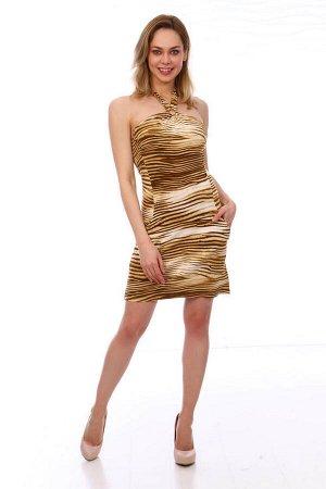 Платье женское, модель 1920007, трикотаж (Стиль, коричневый)