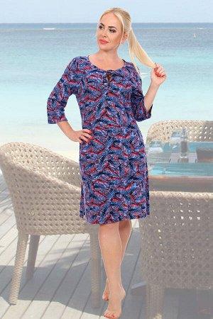 Платье Бренд: Натали Ткань: кулирка Состав: 100% х/б Изделие выполнено из легкого приятного к телу трикотажа. Модель чуть прикрывает колено, рукав 3/4 и небольшой V-образный вырез, декорированный люве