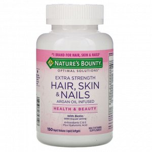 Nature&#x27 - s Bounty, Optimal Solutions, Hair, Skin & Nails, Extra Strength, 150 быстрорастворимых мягких капсул