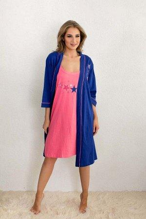Комплект с халатом Alexia Цвет: Синий, Розовый. Производитель: VIENETTA SECRET