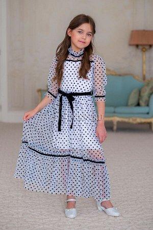 Прозрачное платье на трикотажной основе арт.В-67, цвет белый с черным