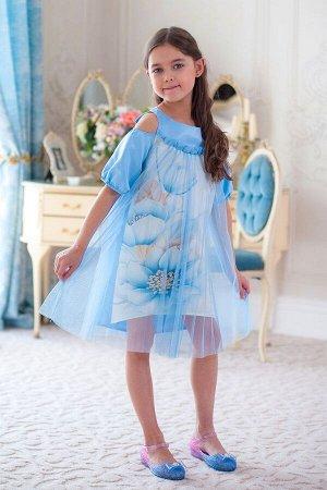 Платье Платье из плотного атласа с принтом и плиссированной сетки свободного кроя. Плечики с вырезом. Молния по спинке.