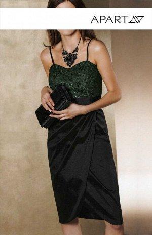 Платье, черно-зеленое