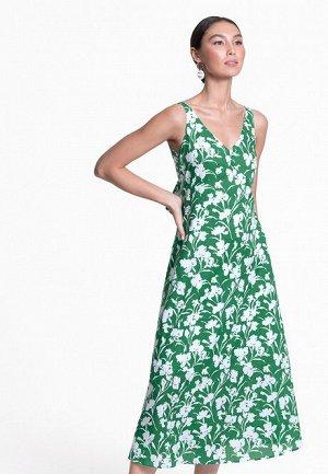 Платье с открытой спиной и принтом