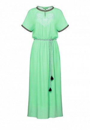 Длинное платье с вышивкой, цвет светло-зеленый