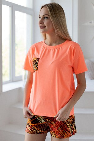 Костюм домашний женский из футболки и шорт из кулирки Колибри 3 оранжевый