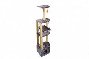 Домик-когтеточка 4х-уровневый с гамаком Угловой (джут) 36*49*170см