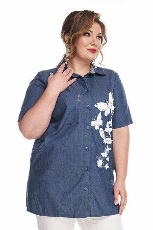 """Рубашка Материал: Джинсовая ткань; Фасон: Рубашка; Длина рукава: Короткий рукав Рубашка джинса """"Бабочки"""" с бусинками синяя Длина изделия 50 размера по спинке - 80 см. В каждом следующем размере длина"""