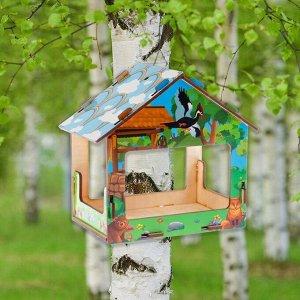"""Кормушка деревянная """"Колодец в сказочном лесу"""", с цветным рисунком, 18X13X19 см"""