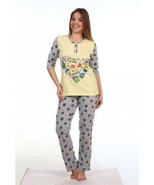 Пижама Пижама женская. 100% хлопок, кулирная гладь набивная