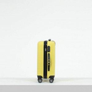 """Чемодан малый 20"""", отдел на молнии, кодовый замок, 4 колеса, цвет жёлтый"""