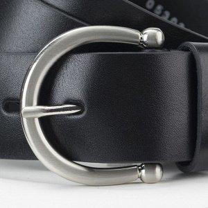 Ремень женский, ширина 4 см, пряжка металл, цвет чёрный