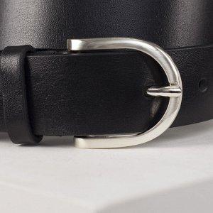 Ремень женский, ширина - 3 см, пряжка металл, цвет чёрный