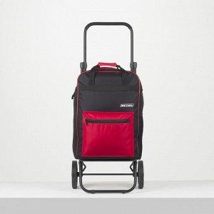 Сумка-тележка, 1 отдел, 2 наружных кармана, колёса 16,5 см, нагрузка до 40 кг, цвет чёрный/красный