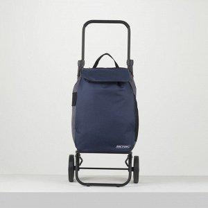 Сумка-тележка, отдел на шнуре, колёса 16,5 см, нагрузка до 40 кг, цвет синий