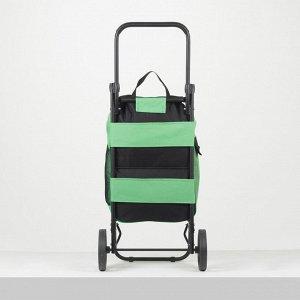 Сумка-тележка, отдел на шнуре, колёса 16,5 см, нагрузка до 40 кг, цвет чёрный
