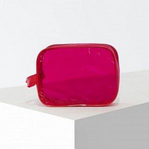 Косметичка ПВХ, отдел на молнии, цвет красный