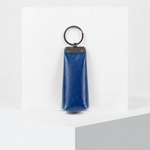 Ключница, отдел на молнии, 2 кольца внутри, цвет синий
