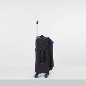 """Чемодан малый 20"""", отдел на молнии, наружный карман, кодовый замок, 2 колеса, цвет чёрный"""