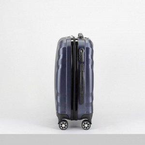 """Чемодан малый 20"""", отдел на молнии, кодовый замок, 4 колеса, цвет тёмно-синий"""