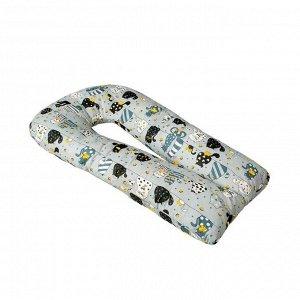 Подушка для беременных u-образная, размер 340 ? 35 см, принт котики жёлтый